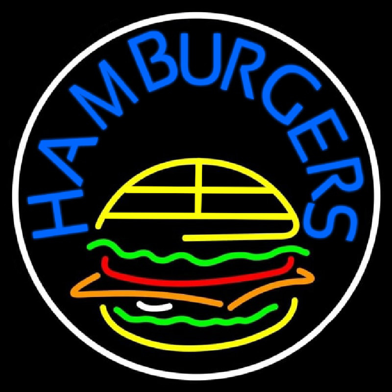 Blue Hamburgers Circle Neon Skilt