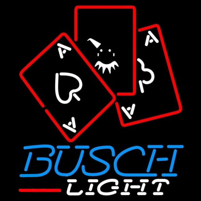 Busch Light Ace And Poker Beer Sign Neon Skilt