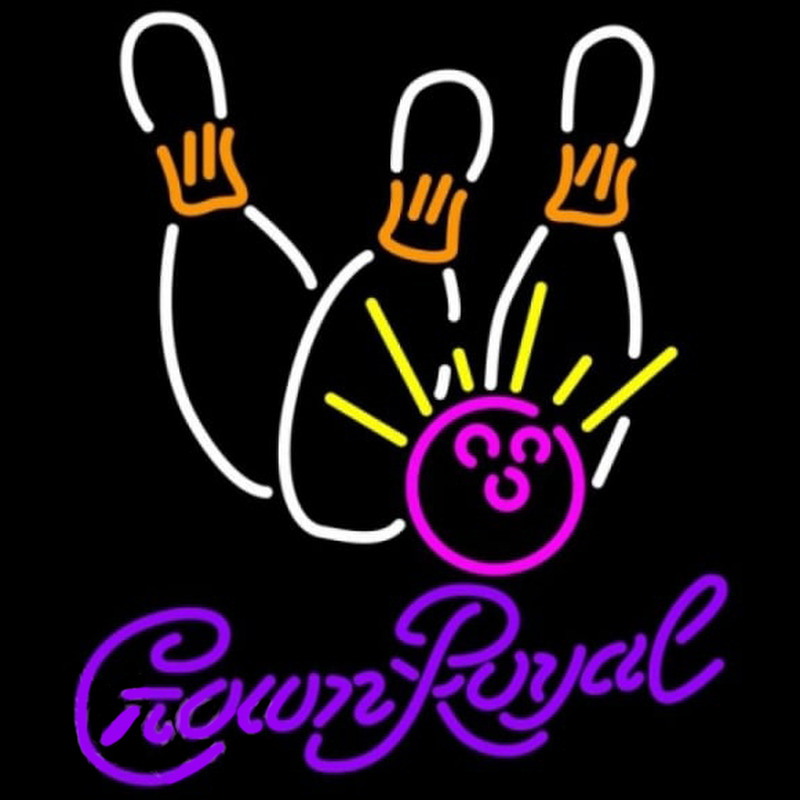 Crown Royal Bowling White Pink Beer Sign Neon Skilt