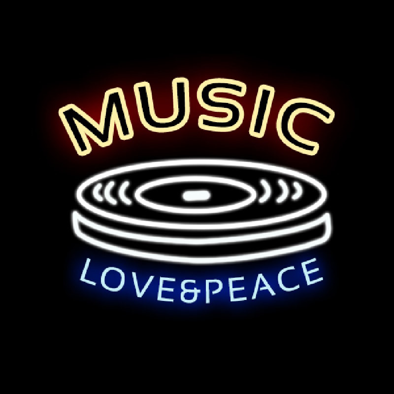 MUSIC LOVE PEACE Neon Skilt