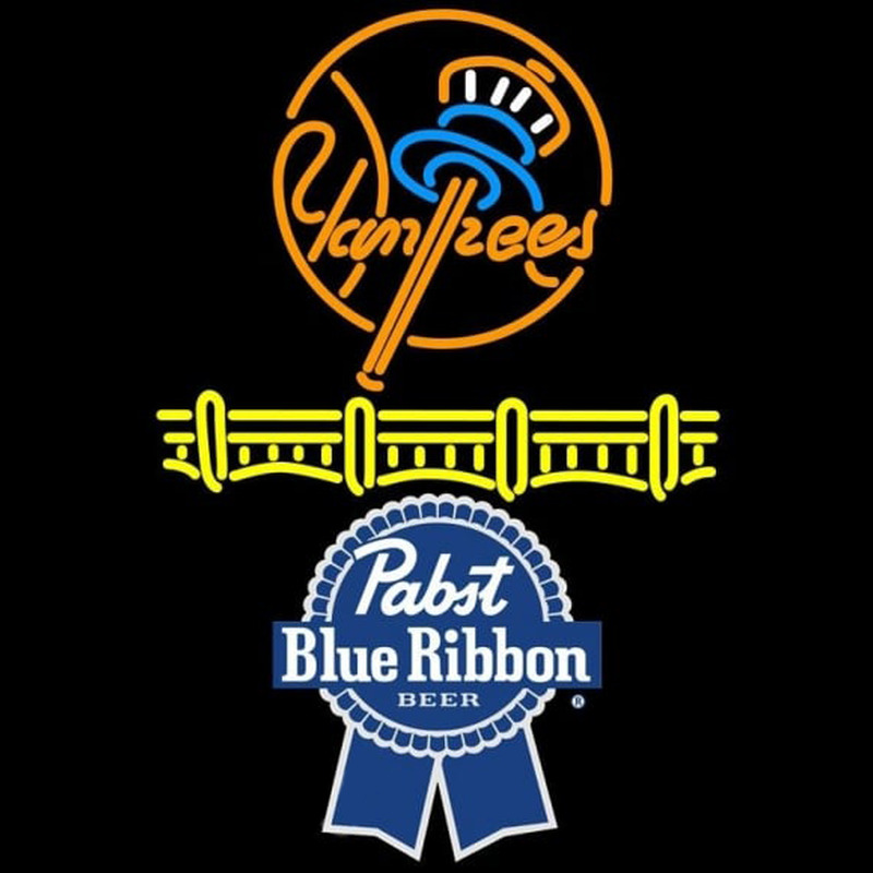 Pabst Blue Ribbon New York Yankees Beer Sign Neon Skilt