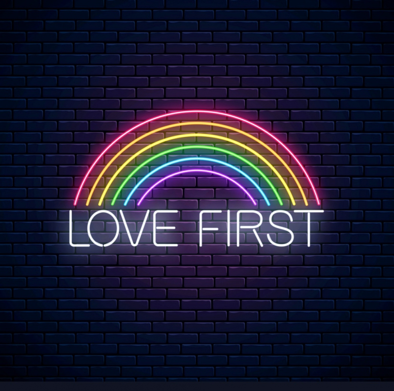 Rainbow love first Neon Skilt