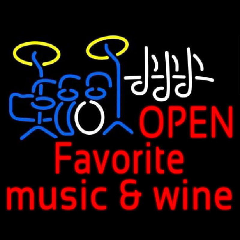 Red Open Music Fovorite Music And Wine Neon Skilt
