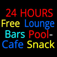24 Hours Free Lounge Bars Pool Cafe Snack Neon Skilt