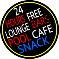 24 Hours Free Lounge Bars Pool Cafe Snack Oval With Border Neon Skilt