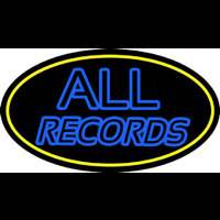 All Records Yellow Border Neon Skilt