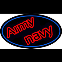 Army Navy With Blue Round Neon Skilt