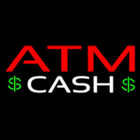 Atm Cash With Dollar Logo Neon Skilt