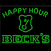 Beck Key Logo Happy Hour Beer Neon Skilt