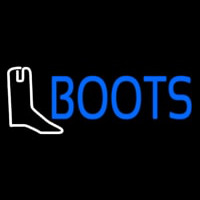 Blue Boots With Logo Neon Skilt