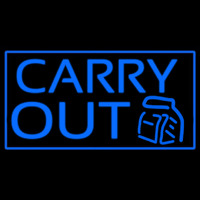 Blue Carry Out Neon Skilt