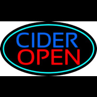 Blue Cider Open With Turquoise Oval Neon Skilt