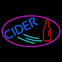 Blue Cider With Pink Oval Neon Skilt