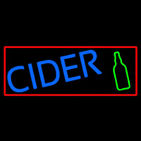 Blue Cider With Red Border Neon Skilt