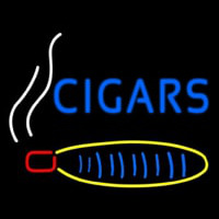 Blue Cigars With Logo Neon Skilt