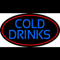 Blue Cold Drinks With Red Oval Neon Skilt