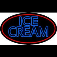Blue Double Stroke Ice Cream With Red Oval Neon Skilt