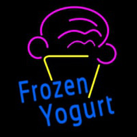 Blue Frozen Yogurt With Logo Neon Skilt