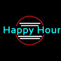 Blue Happy Hour Neon Skilt