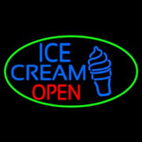 Blue Ice Cream Open With Green Oval Neon Skilt