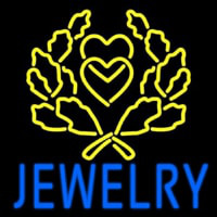 Blue Jewelry Block Logo Neon Skilt