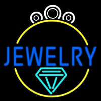 Blue Jewelry Center Ring Logo Neon Skilt