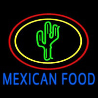 Blue Mexican Food With Cactus Logo Neon Skilt