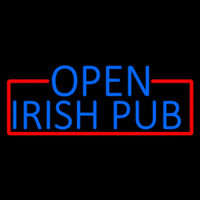 Blue Open Irish Pub With Red Border Neon Skilt