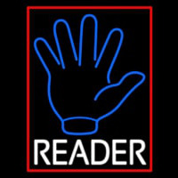 Blue Palm White Reader Red Border Neon Skilt