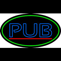 Blue Pub Oval With Green Border Neon Skilt