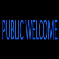 Blue Public Welcome Neon Skilt