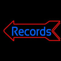 Blue Records In Cursive 1 Neon Skilt