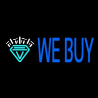 Blue We Buy Diamond Logo Neon Skilt