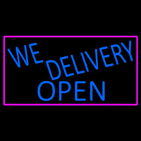 Blue We Deliver Open With Pink Border Neon Skilt