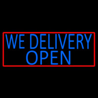 Blue We Deliver Open With Red Border Neon Skilt