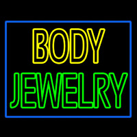 Body Jewelry Blue Border Neon Skilt