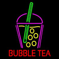 Bubble Tea With Glass Neon Skilt
