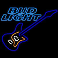 Bud Light Blue Electric Guitar Beer Sign Neon Skilt