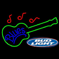 Bud Light Blues Guitar Beer Sign Neon Skilt