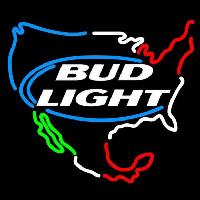 Bud Light Usa Map Beer Sign Neon Skilt