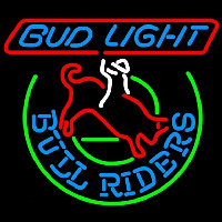 Budweiser Bud Light Bull Riders Beer Sign Neon Skilt
