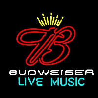 Budweiser Live Music 2 Beer Sign Neon Skilt