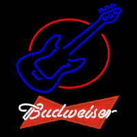 Budweiser Red Red Round Guitar Beer Sign Neon Skilt