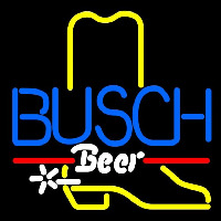 Busch Cowboy Boot Beer Sign Neon Skilt