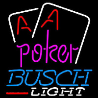 Busch Light Purple Lettering Red Aces White Cards Beer Sign Neon Skilt