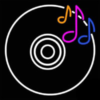 CD Musical Note Neon Skilt