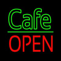 Cafe Block Open Green Line Neon Skilt