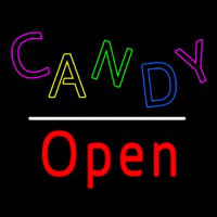 Candy Open White Line Neon Skilt
