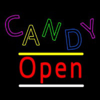 Candy Open Yellow Line Neon Skilt