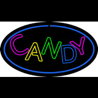 Candy Oval Blue Neon Skilt